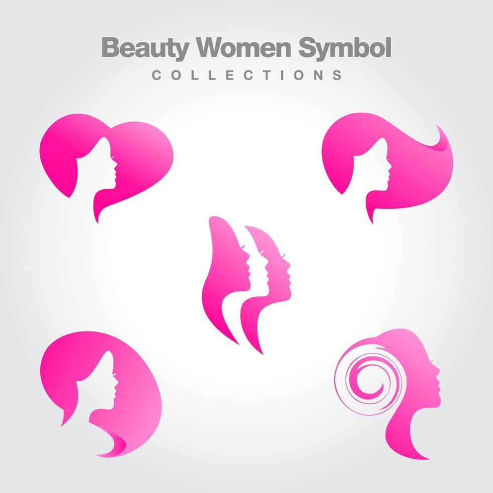 ensemble de symboles de silhouette de tête de femme rose vecteur