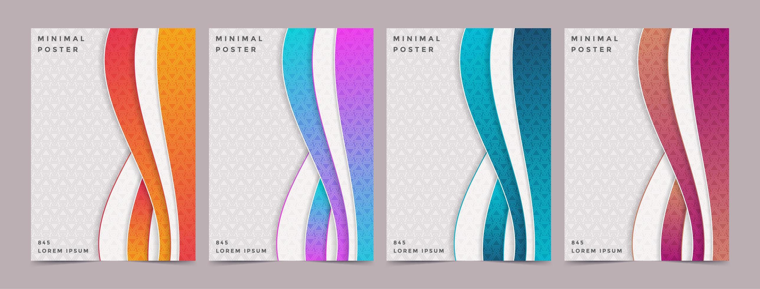 couvertures à motifs modernes en forme de vague verticale en couches vecteur