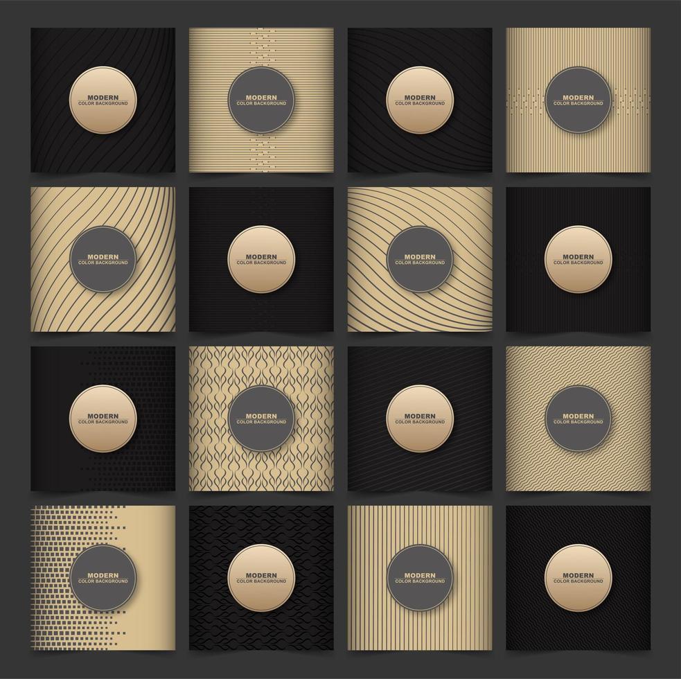 couverture premium or et noir sertie de motifs vecteur
