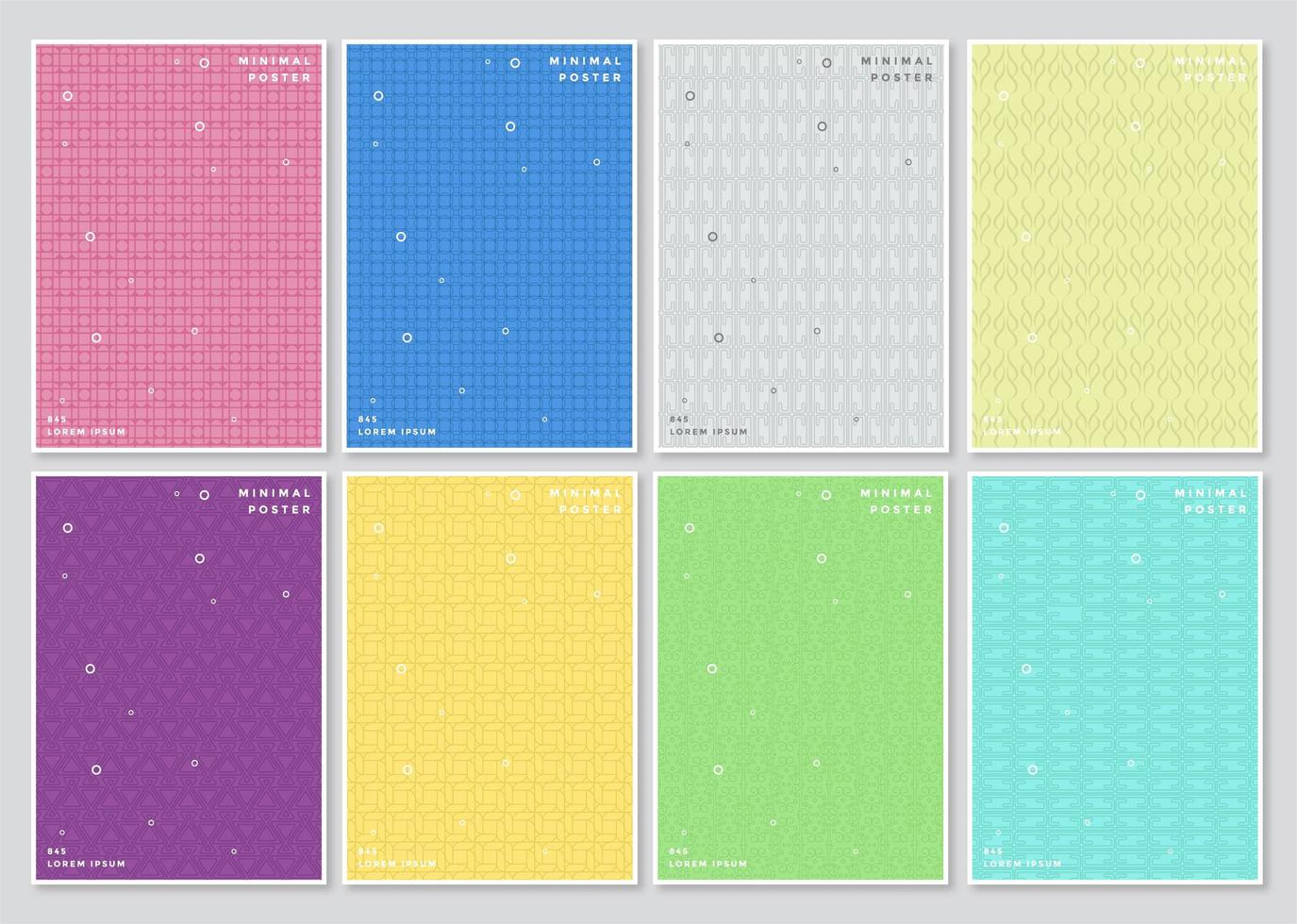 ensemble de motifs de couverture minimale colorés et légers vecteur