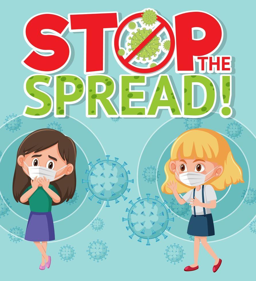 arrêter l'affiche de propagation du coronavirus avec deux enfants vecteur