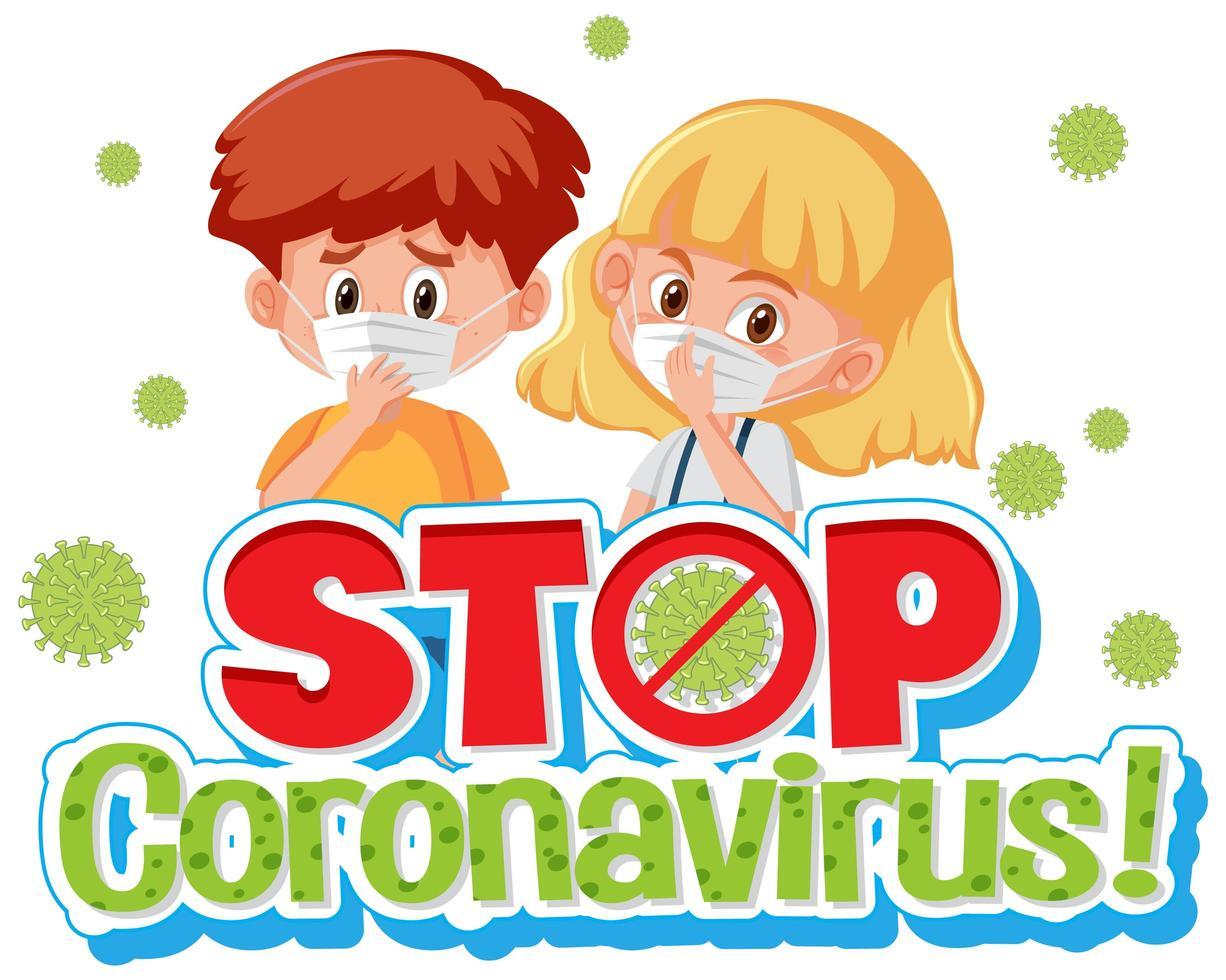 affiche stop coronavirus avec des enfants portant un masque vecteur