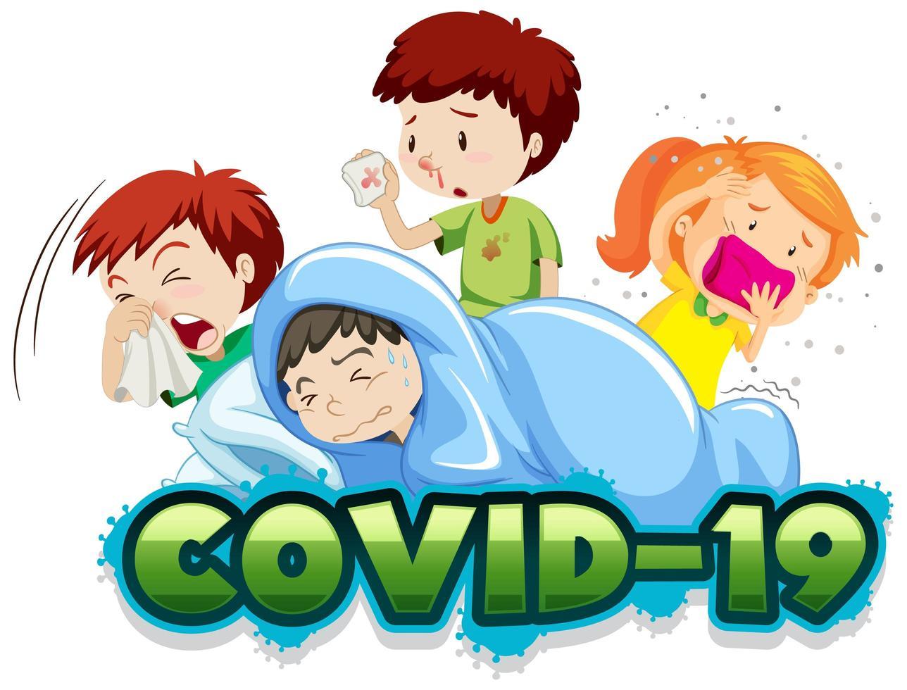 modèle de signe Covid 19 avec de nombreux enfants malades vecteur
