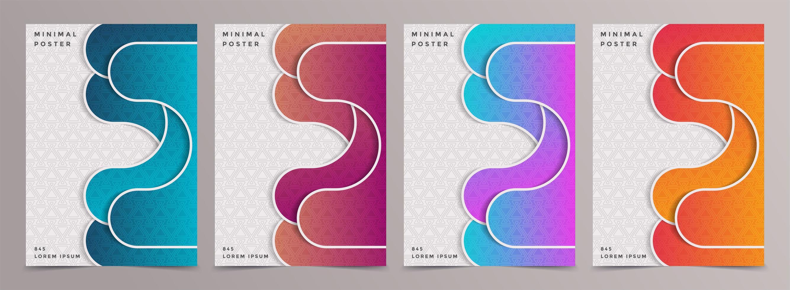 conception de motifs de couvertures colorées minimales. vecteur