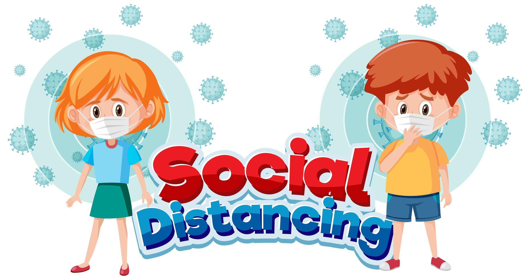 affiche de distanciation sociale du coronavirus avec des enfants portant un masque vecteur