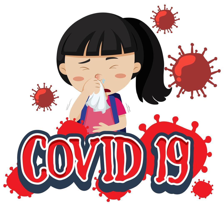 affiche de conception de polices covid-19 avec une fille malade vecteur