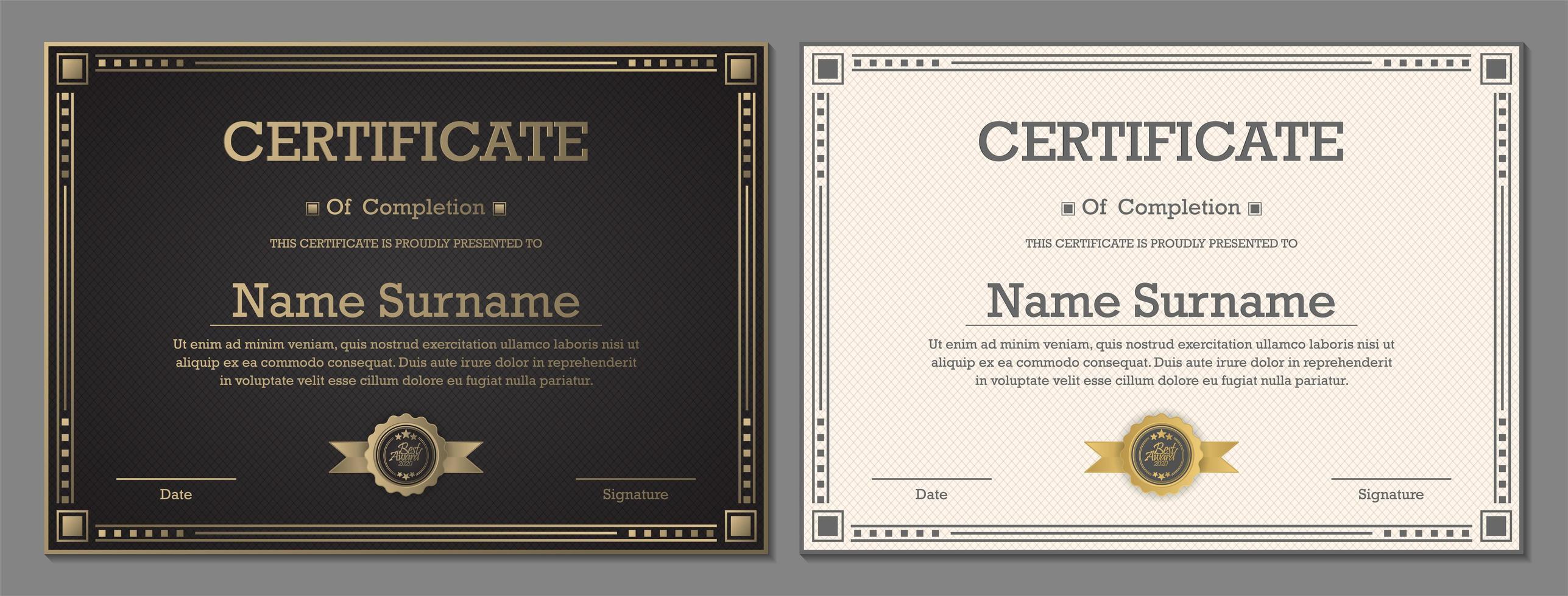 certificats de luxe en noir et blanc vecteur