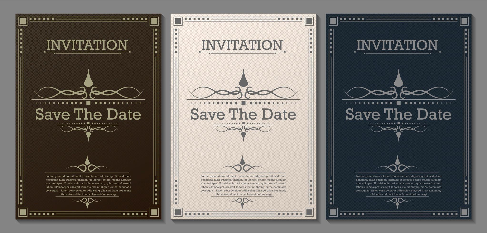 vintage luxe enregistrer les modèles d'invitation de date vecteur