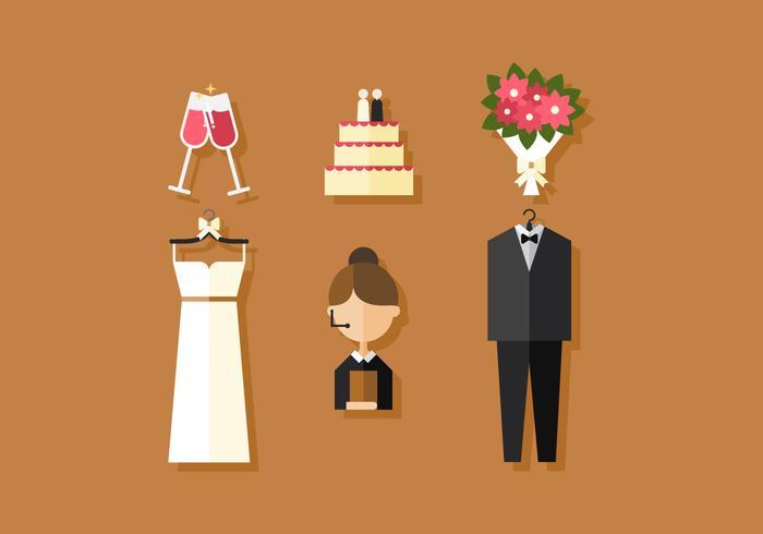Icônes de mariage vectoriel