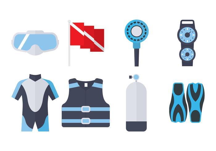 Équipement de plongée Icône plate vecteur