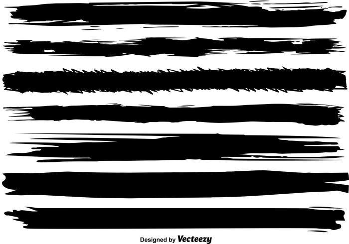 Ensemble de lignes de brosse noire vectorielle vecteur