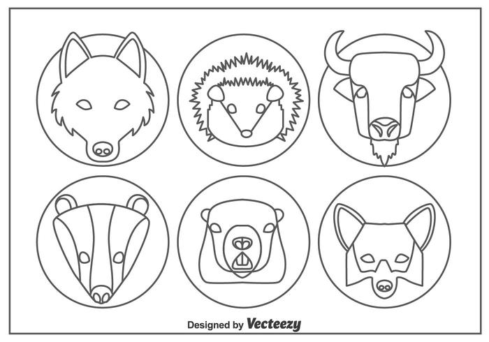 Vecteur d'icônes de ligne de tête de forêt animale