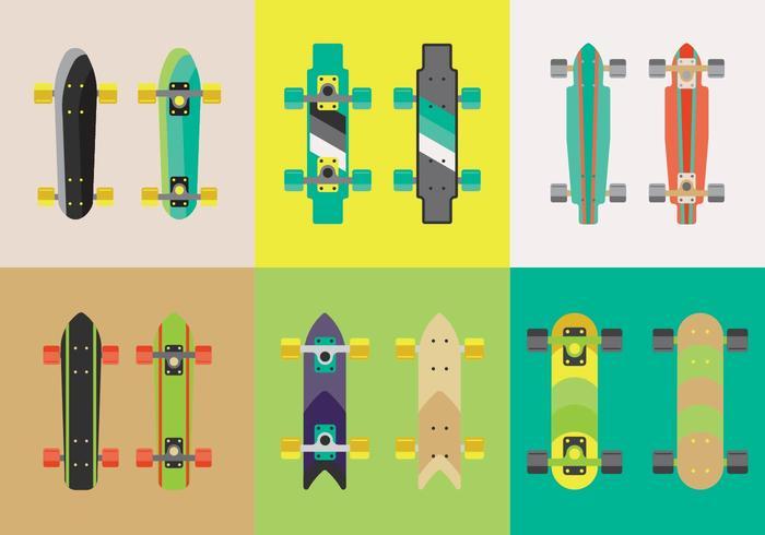 Vecteurs de planche à roulettes Longboard gratuits vecteur