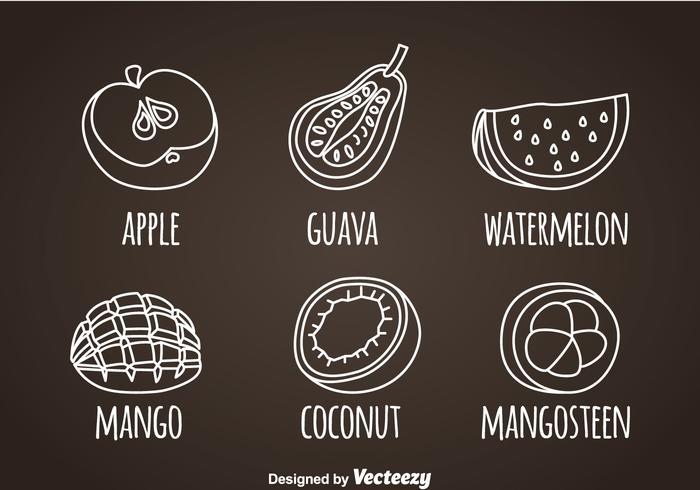 Fruits, icônes de ligne blanche vecteur