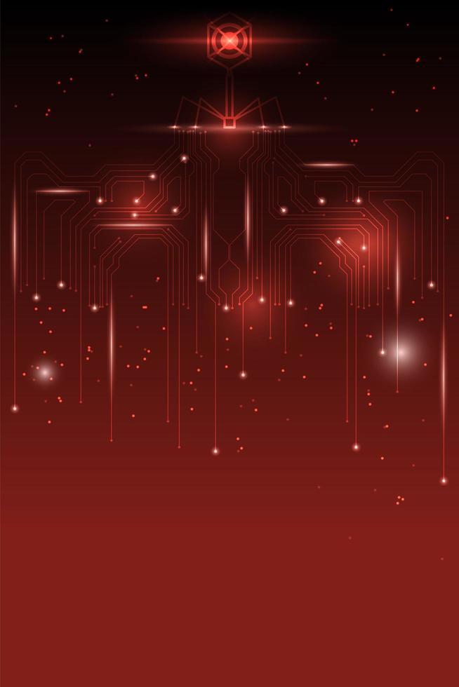 abstrait technologie rouge avec virus rougeoyant vecteur