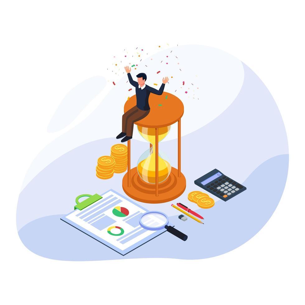 succès de l'homme d'affaires gérer le temps de grandir ses finances vecteur