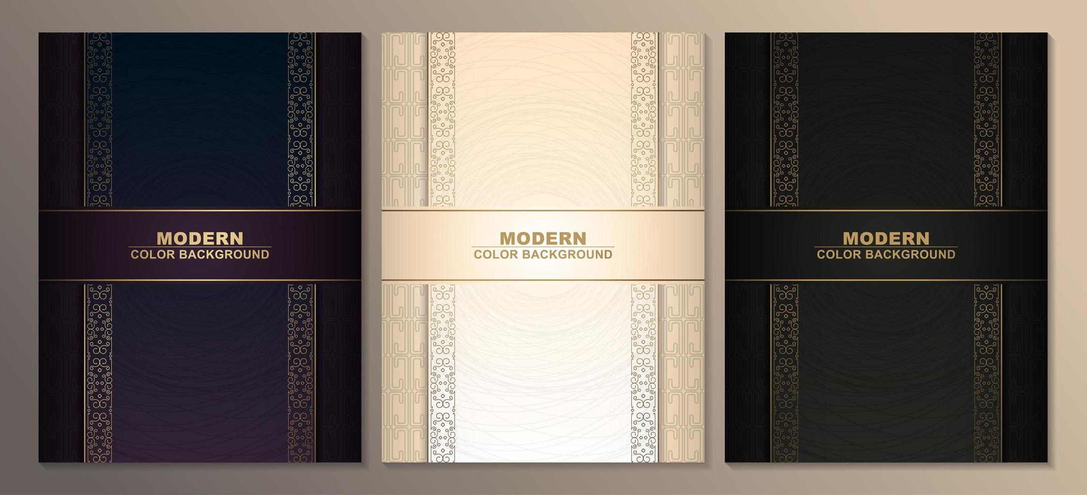 ensembles de modèles de couverture dorée premium vecteur
