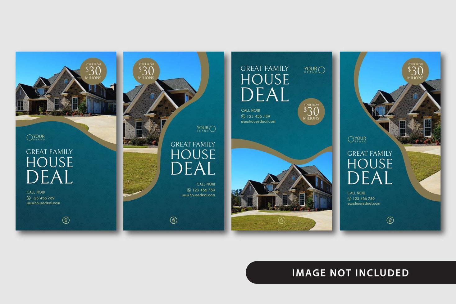ensemble de modèles d'histoires de médias sociaux immobiliers bleus vecteur