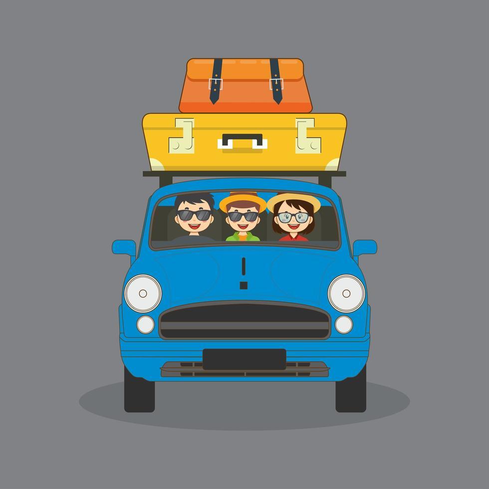 famille voyageant en voiture vecteur