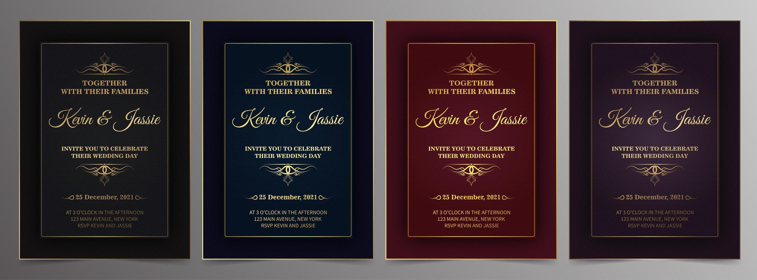 modèles de cartes d'invitation d'or vintage de luxe vecteur