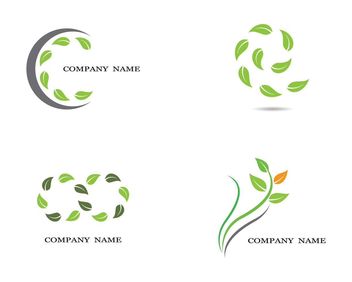 ensemble de logos écologie feuille verte vecteur