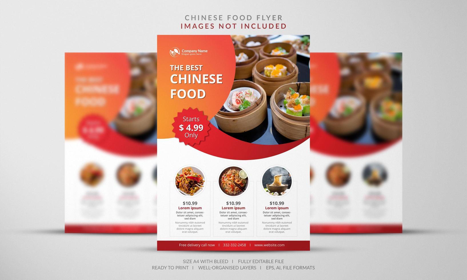 dépliant de la nourriture chinoise vecteur