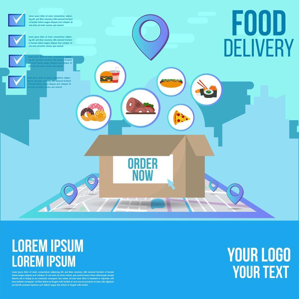commande de livraison de repas sur la conception de suivi de carte vecteur