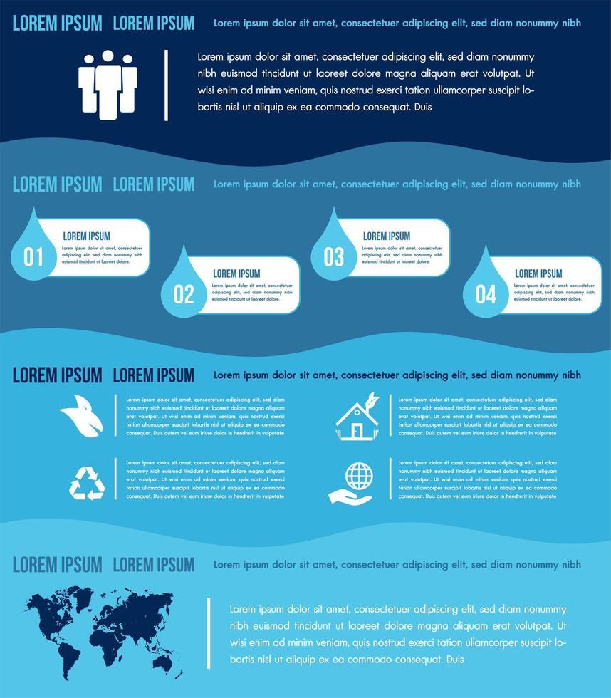 modèle d'éléments d'infographie de l'eau avec des graphiques vecteur