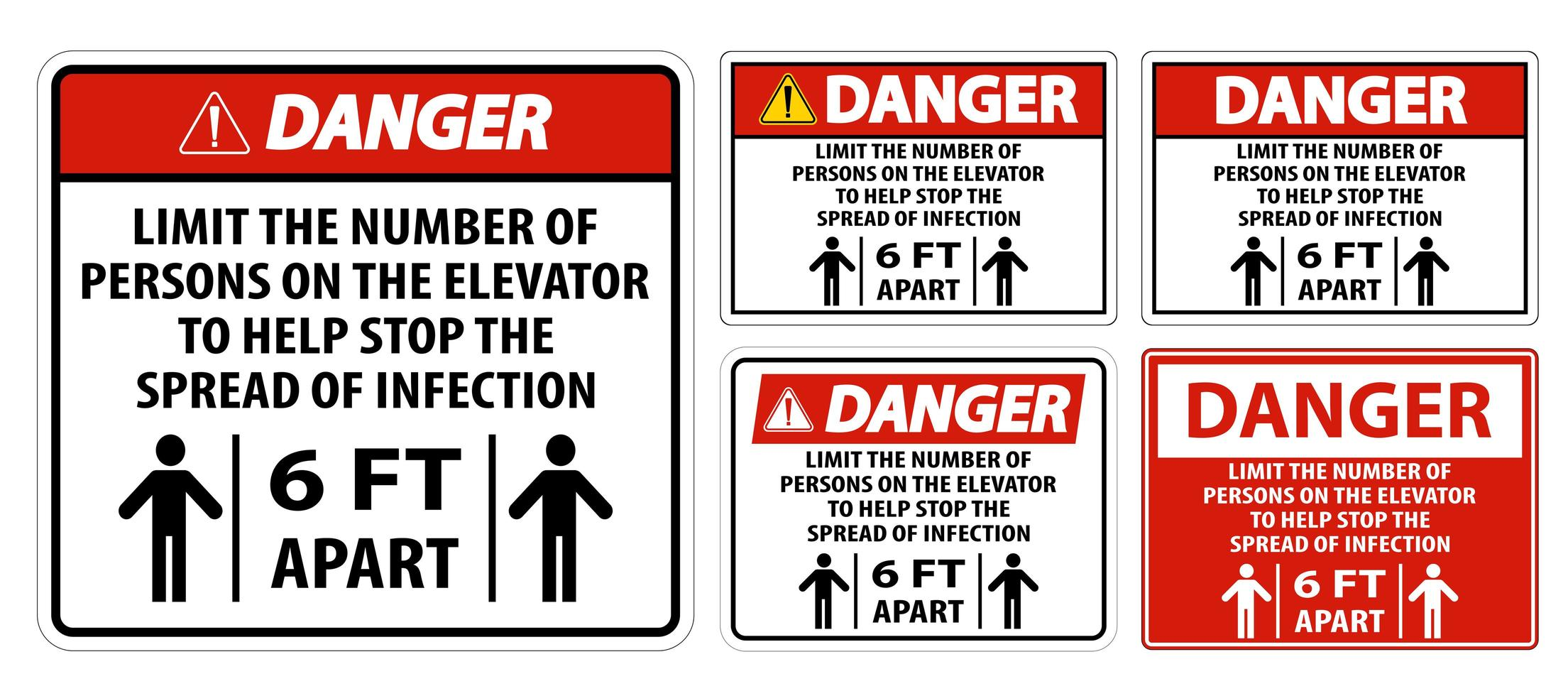 Ascenseur de danger signe de distance physique isoler sur fond blanc vecteur