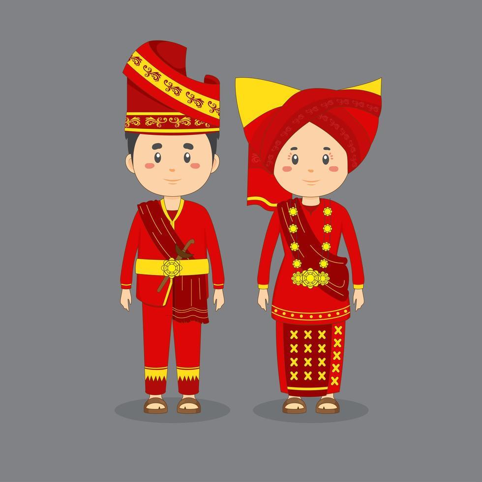 couple, caractère, Porter, ouest, sumatra, traditionnel, robe vecteur