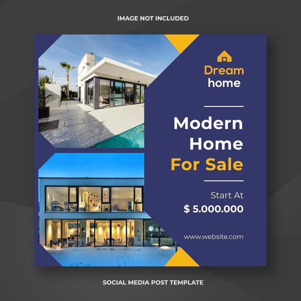 modèle de bannière sociale immobilier maison moderne vecteur