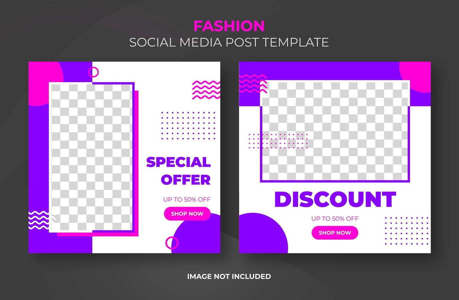 modèle de bannière rétro rose violet des médias sociaux vecteur