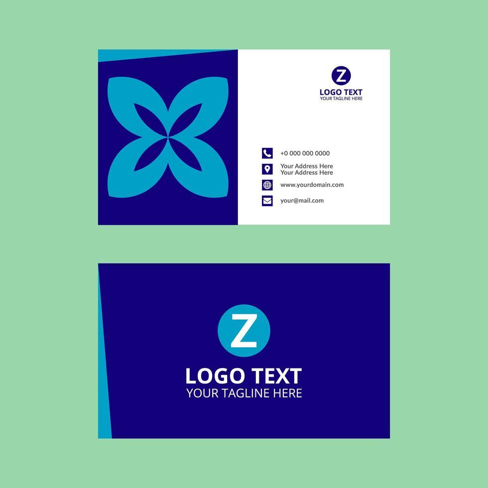 carte de visite bleue vecteur