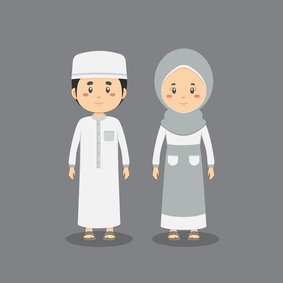 caractère de couple portant une robe musulmane vecteur