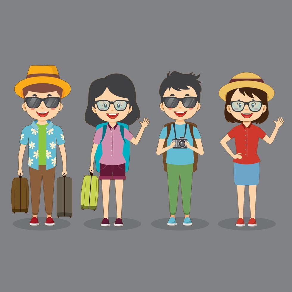 ensemble de 4 personnages de voyage touristique vecteur