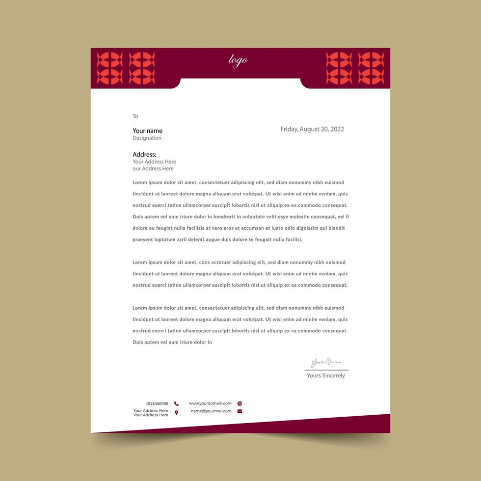 feuille de papier à en-tête rouge vecteur
