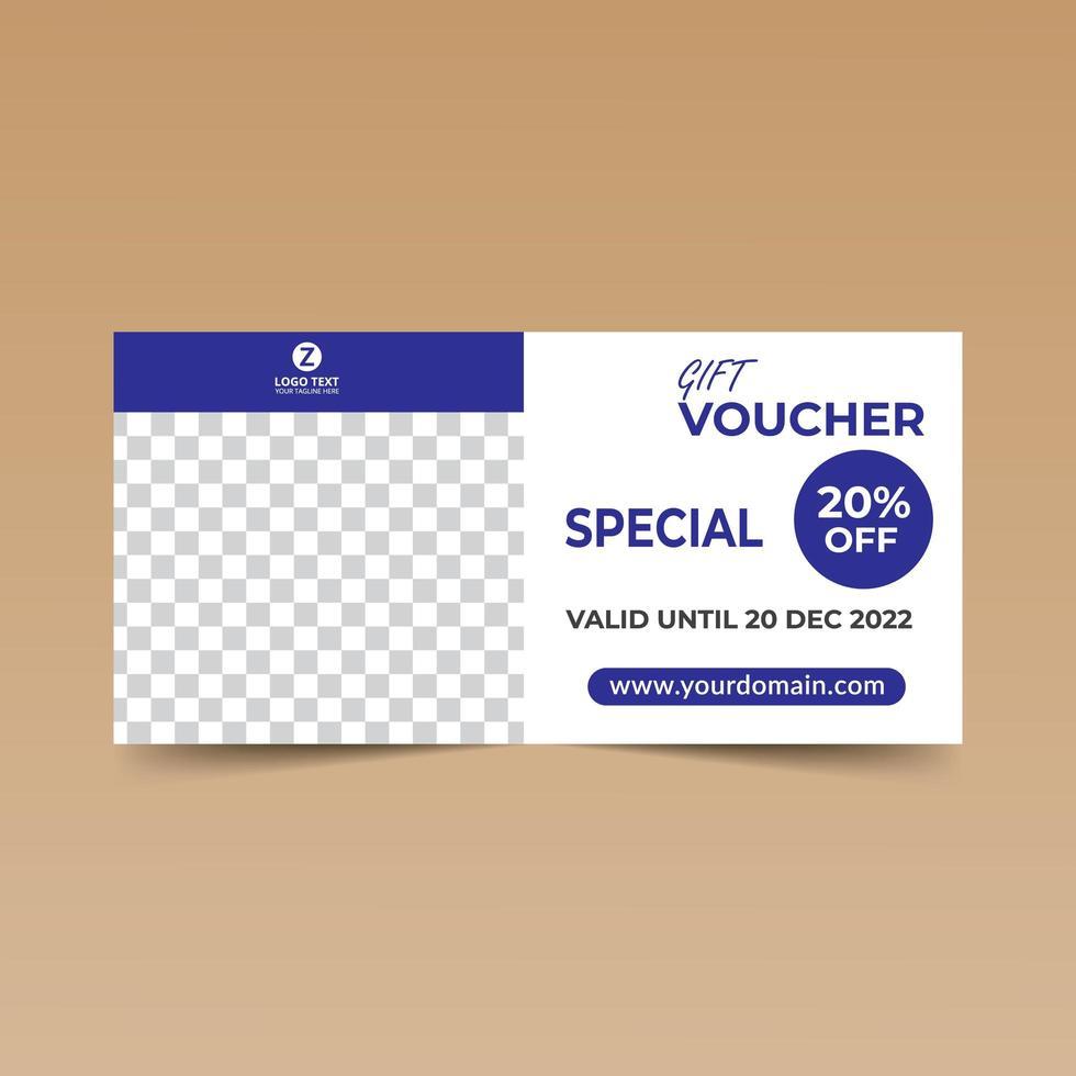 chèque cadeau bleu vecteur
