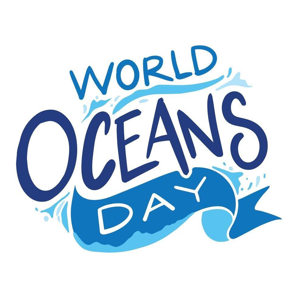 lettrage de la journée mondiale des océans vecteur