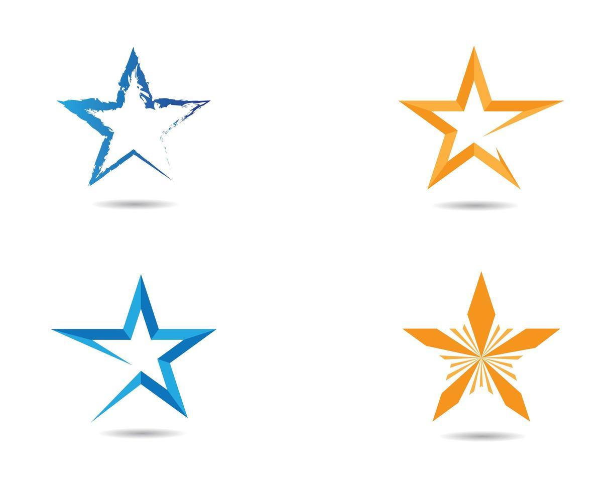 ensemble d'étoiles bleues et orange vecteur