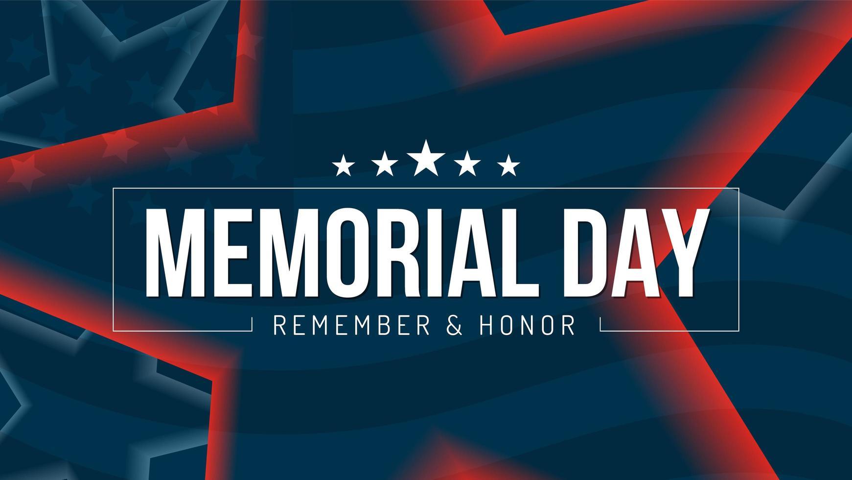 affiche du souvenir et de l'honneur du jour du souvenir avec des étoiles vecteur