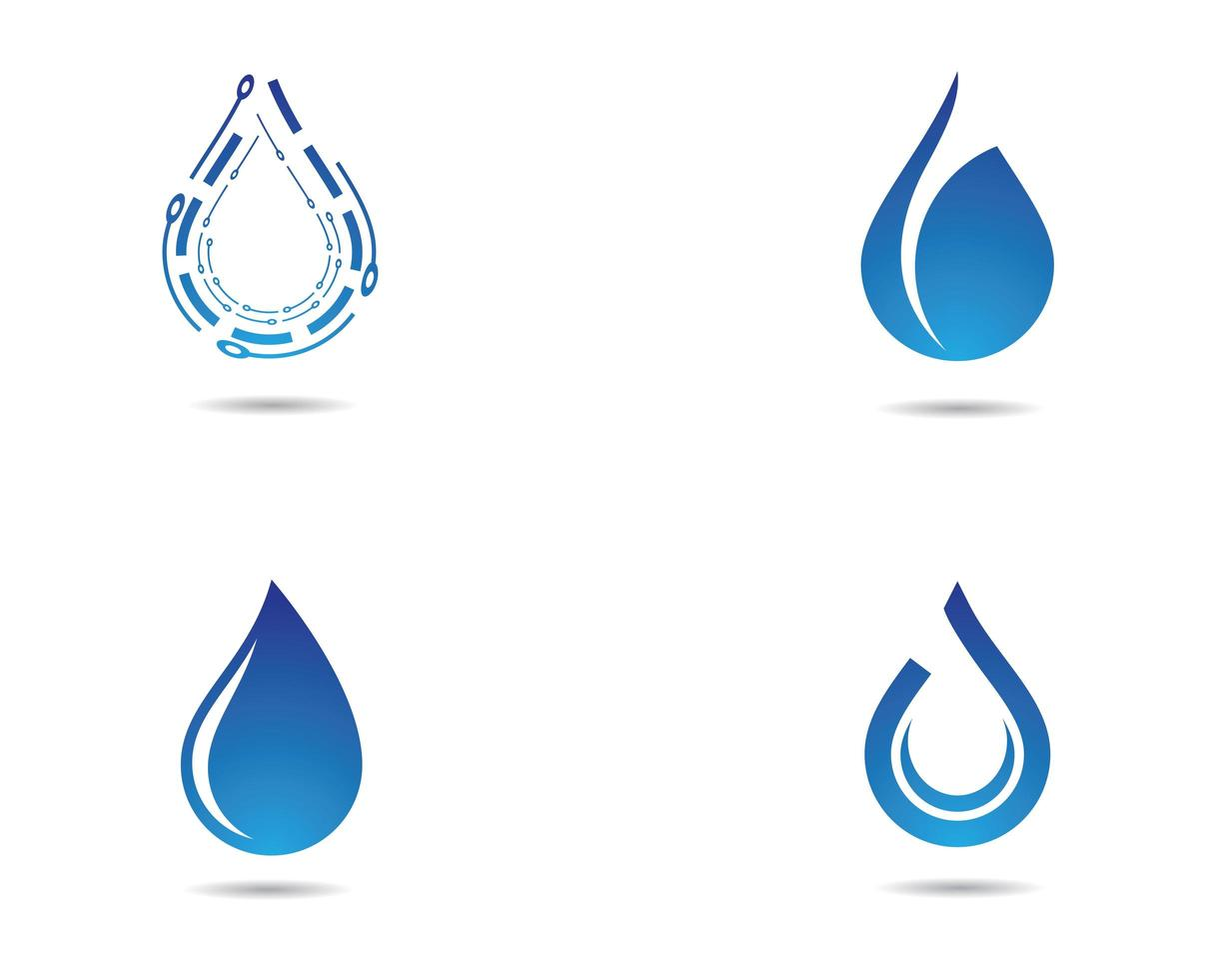 jeu d'icônes de goutte d'eau vecteur