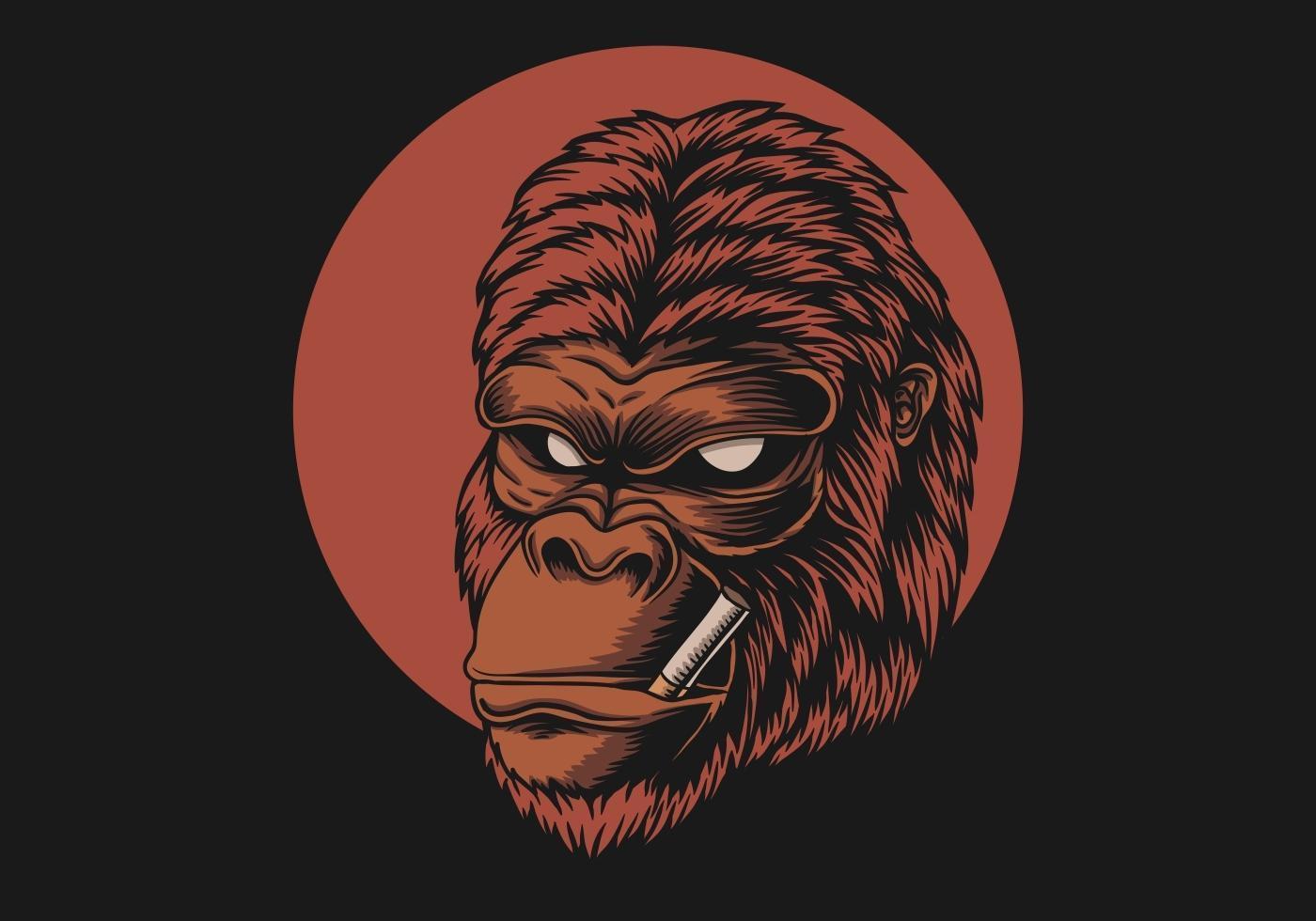 tête de gorille fumée vecteur