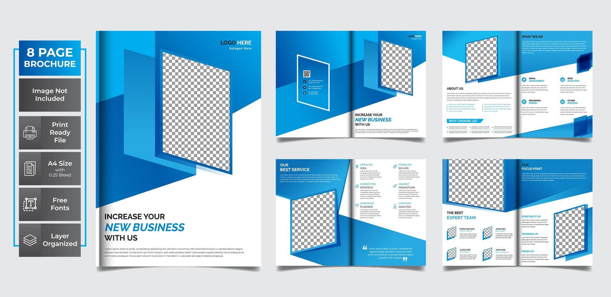 modèle polyvalent créatif bleu 8 pages vecteur
