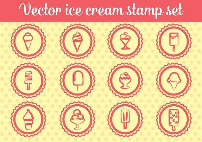 Vecteurs de timbres de crème glacée gratuits vecteur