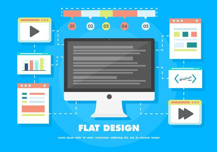 Fond d'écran vectoriel numérique gratuit avec ordinateur