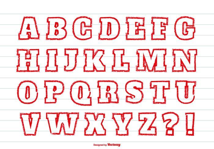 Ensemble alphabétique de style Red Crayon vecteur