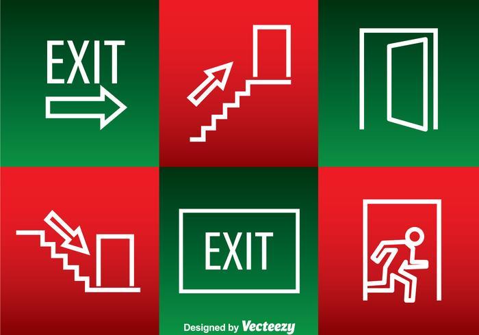 Icônes de contour blanc de sortie d'urgence vecteur