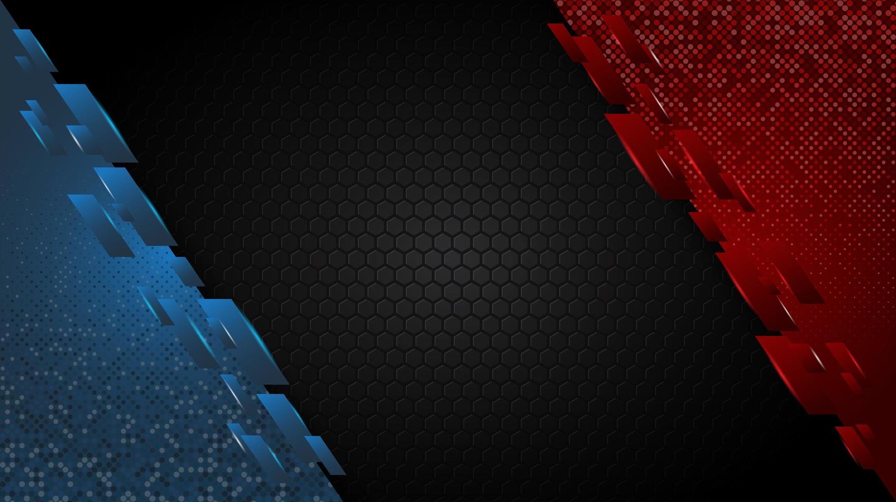 coins angulaires rouges et bleus sur motif hexagonal vecteur