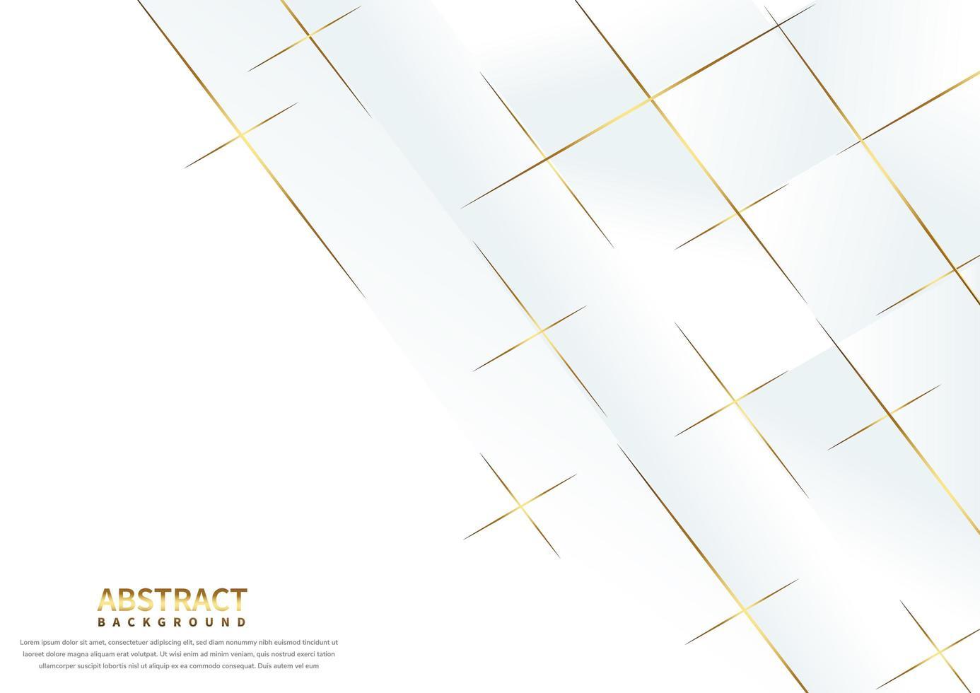 fond blanc abstact avec des lignes qui se chevauchent d'or vecteur