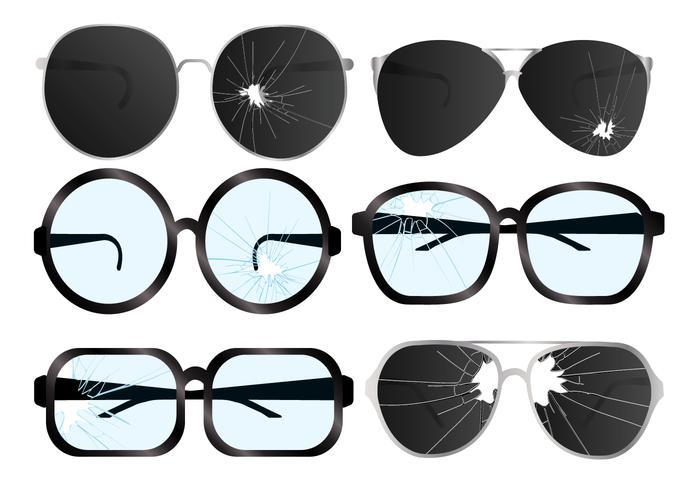 Ensemble de vecteur de lunettes fissurées